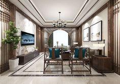 Chinese Interior, Asian Interior, Asian Living Rooms, Living Room Interior, Faux Walls, Interior Architecture, Interior Design, Hotel Interiors, Dining Room Design