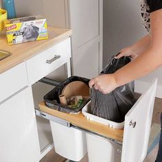 A two-bin unit lets you sort recyclables and trash, then conceal them behind doors. The most convenient location for this unit is next to the sink so cans and bottles can go straight from a rinse into the appropriate bin. Or, choose a location near the door where you exit the house to limit how far you must lug the bins.