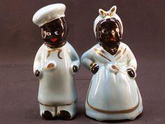Vintage Ceramic Black Americana Negro Salt and Pepper Shaker Set Man and Woman 1940's , $69.99