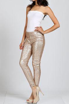 """Bae"" Gold Sequin Leggings- Pre-Order"