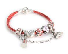 S925 Sterling Silver Zirconia Enamel Red Story Bracelets--charmselft.com