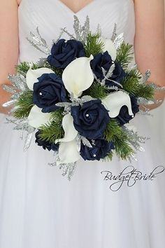 Blue Wedding Flowers Navy silver and white wedding flowers real touch calla lilies marine blue roses pine winter wedding ideas christmas brides bouquet Navy Blue Wedding Theme, Silver Winter Wedding, Blue Silver Weddings, Orange Wedding Flowers, Winter Wedding Flowers, Flower Bouquet Wedding, Wedding Themes For Winter, Winter Themed Wedding, Christmas Wedding Bouquets