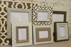 Natural Neutral Wall Grouping Gallery of Custom Wood Distressed Picture Frames (6) ANY colors to match your home