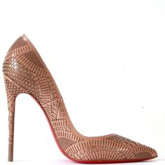 Christian Louboutin Laser-cut Kristali Pumps A strikingly intricate pattern is laser-cut of sleek, patent leather in industrial design - a dynamic combination of chains, grid mesh, conveyors and more- with metallic underlay shimmering beneath. Christian Louboutin Shoes Heels