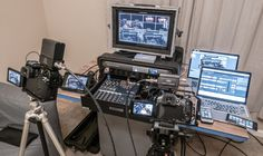 Here's a video walk-through of a setup I have for Live Streaming to the Internet while Live Switching between Multiple Cameras. Video Editing Studio, Video Studio, Computer Desk Setup, Drone Technology, Camera Equipment, Mobile Video, Studio Setup, Digital Camera, Videos