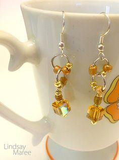 Beaded Earrings Tangerine Hypoallergenic by LindsayMareeJewelry, $12.00