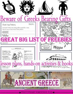 Ancient Greece Big List of Freebies, Hands-On Ideas and Resources for a free unit study or lapbook t@ Tina's Dynamic Homeschool Plus