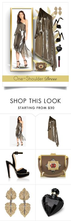 """""""Gold Lame One Shoulder Dress"""" by fernshadowstudio-com ❤ liked on Polyvore featuring Halston Heritage, Christian Louboutin, Roberto Cavalli, Buccellati and Lipsy"""