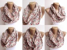 cotton scarf, floral infinity scarf .loop scarf , Eternity by seno, $25.00