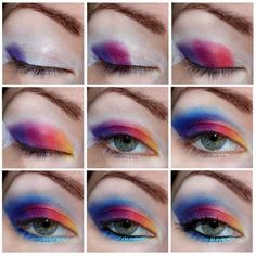 color #red #blue #eyes #eyeshadow #eyemakeup #video #tutorial #eyeliner #mascara - bellashoot.com #smokeyeyes #stepbystep