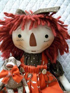 Primitive Cute Raggedy Ann type doll & sock by yellowsweetpotato