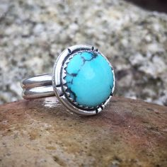 Turquoise Ring Size 7 1/2 Sterling Silver by PacificCrestSilver