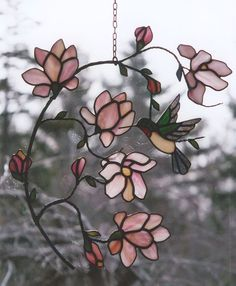Hummingbird Stained Glass Window by Tamara's Custom Stained Glass. magnolia  ...