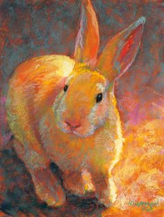 """""""Brightie""""  (pastel, 8x6 inches) $275  Realized yesterday that I had no bunnies left in stock, so today I painted Brightie to take with me to the Bayou City Art Festival this weekend, Oct 8-9, in downtown Houston. Find me in booth 622 on Bagby Street!  See progress shots on my blog: https://ritakirkman.blogspot.com/2016/10/brightie.html"""