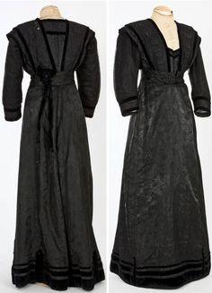 Dress, Barcelona, ca. 1900-09. Black silk satin and velvet, mechanical embroidery. Textile Museum & Documentation Center of Terrassa (IMATEX)