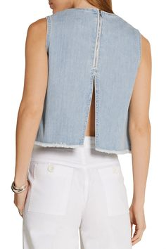 Shop on-sale Cropped denim top. Browse other discount designer Sleeveless Top & more luxury fashion pieces at THE OUTNET Denim Blouse, Denim Top, Blue Denim, Sexy Back, Alexander Mcqueen Clutch, Steve J, Street Culture, Casual Tops For Women, Light Denim