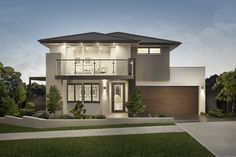 With a focus on open plan living, the Benham home design has 4 and 5 bedroom floor plans available. Contact us today to find out about Sydney house prices! Style At Home, Rawson Homes, Narrow Lot House Plans, 4 Bedroom House Plans, Modern Contemporary Homes, Dream House Exterior, New Home Designs, Facade House, House Prices