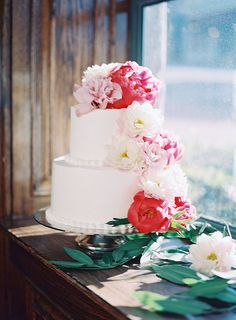 Buttercream Wedding Cake with Fresh Garden Roses and Peonies in Pink and Blush | Heather Payne Photography | http://heyweddinglady.com/enchanted-garden-wedding-colorful-summer-florals/