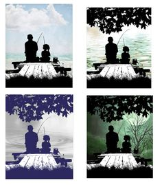 Father Daughter Fishing on the Dock A Daddy is a Girls First Love Wall Art Print Fathers Day Dad Gifts - Father Daughter Fishing on the Dock A Daddy is a Girls First - Daddy Daughter Tattoos, Daughters Name Tattoo, Father Tattoos, Dad Tattoos, Tattoo Ink, Celtic Tattoos, Tatoos, Fish Silhouette, Silhouette Tattoos