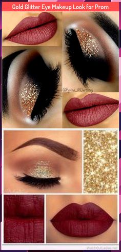 Gold Glitter Eye Makeup Look for Prom - Make Up Prom Make Up, Prom Makeup Looks, Glitter Eye Makeup, Gold Eyes, Gold Glitter, Lipstick, How To Make, Beauty, Golden Eyes