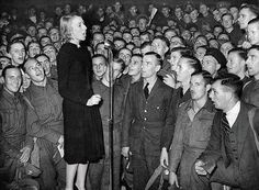 Vera Lynn singing for British soldiers, World War II.