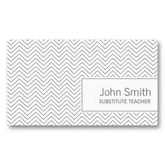 Simple Zigzag Substitute Teacher Business Card