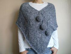 Knit Pompom Gray Poncho Women Fashion by bysweetmom