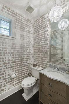 Queen of Spain Wallpaper and Restoration Hardware Empire Rosette Powder Room Vanity Sink