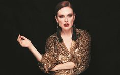 Download wallpapers Julianne Moore, 4k, American actress, luxurious evening dress, make-up, black dress, beautiful woman