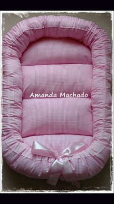 Pretty in pink Baby Sewing Projects, Sewing For Kids, Baby Nest Bed, Baby Fruit, Pillow Crafts, Baby Kids, Baby Boy, Baby Wrap Carrier, Baby Crib Bedding