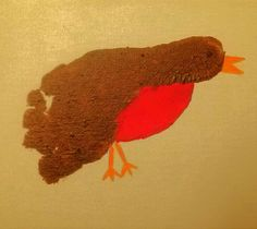 Robin foot MJ spring craft bird footprint print paint easy canvas red brown yellow