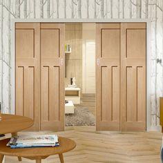 Quad Telescopic Pocket DX Oak Veneer Door - 1930's Style.    #perioddoors #1930doors #dx30doors #vintagedoors   #pocketdoors #internaldoors #telescopicdoors #hiddendoors #disappearingdoors #moderndoors