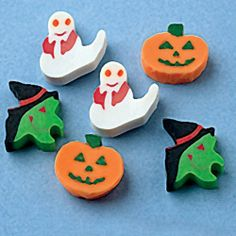 """Mini Halloween Erasers by US Toy Company. $14.99. Assorted styles: Witch, Pumpkin, and Ghost.. U.S. Toy Exclusive.. Size: 1 T.. Made of rubber.. 144 pieces per unit.. Add this Halloween eraser to your Halloween loot bags.  Erasers come in three assorted designs.  Size 1 T.  U.S. Toy Exclusive!"""""""