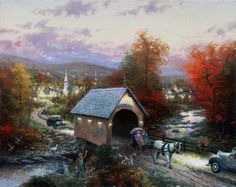 Country Memories painting by artist Thomas Kinkade can be purchased in art print or canvas form at special sale prices at Christ-Centered Art. Thomas Kinkade Art, Kinkade Paintings, Oil Paintings, Painting Art, Thomas Kincaid, Window Candles, Art Thomas, Norman Rockwell, Covered Bridges