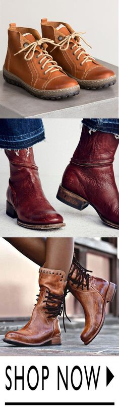 Tendance Chaussures 2018 Description I like the real leather boots. I especially like the first and last pics with the shoelaces. I like the chic yet logical side of the fashion. Latest Fashion Clothes, Latest Fashion For Women, Fashion Shoes, Fashion Outfits, Womens Fashion, Mode Shoes, Vintage Boots, Vintage Lace, Boots For Sale