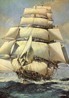 Clipper Ship Lightning - studdingsails but no topsails or skysails - she is a beautiful sight whether or no. By sandmarg on Etsy