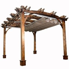 10 ft. x 12 ft. Arched Breeze Cedar Pergola with Retractable Canopy, Beige/Ivory