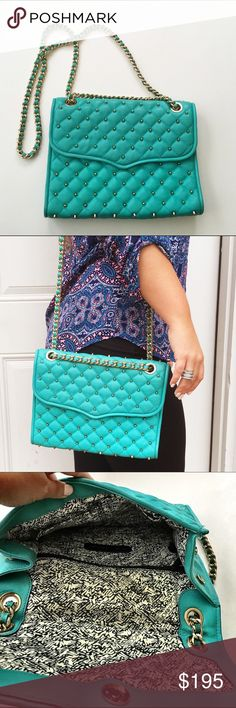 """Rebecca Minkoff Large Turquoise Studded Crossbody Stunning Rebecca Minkoff turquoise Crossbody bag with gold studded detail. Worn once, near perfect condition. Comes with original dustbag. Large size. Measures 11""""x8"""" with 22"""" drop gold chain. No trades/modeling! Rebecca Minkoff Bags Crossbody Bags"""