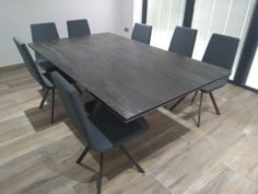 Extendable version of Victoria table in RADIUM Dekton and Graphite legs. Available in other sizes and configurations. CANDY dining chairs in Ultra Anthracite and Graphite legs. Delivered to our client in Barnet. Dining Table Chairs, Dining Furniture, Tables, Contemporary Furniture, Contemporary Design, Leather Bed, Barnet, Sofa Design, Modern Bedroom
