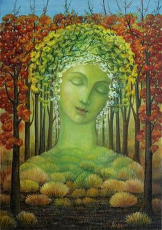 * Gaia's themes are abundance, providence, thankfulness, nature, divination, promises and the earth. Her symbols are harvested foods (especially fruit and grains) and soil. In Greek tradition, Gaia stretched out at the beginning of time, becoming the earth's land. In this form, She continues to give life and sustenance to all things that dwell in and on the planet, even when the cold weather tries to steal away that life.