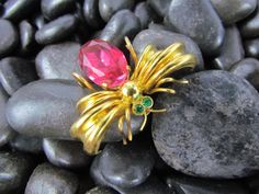 Vtg CZECHO Signed Gold Red & Green Rhinestone Spider Bug Critter Brooch Pin