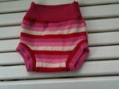 Medium Upcycled Pink Red and White striped Wool Soaker Cloth Diaper Cover with extra wet zone layer on Etsy, $14.00