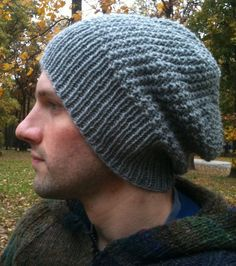 Free Knitting Pattern for Graham Slouchy Beanie - Easy unisex slouchy beanie hat features a broken rib stitch. Designed by Jennifer Adams Pictured project by eLoomanator