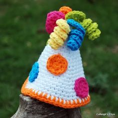 Crochet party hat...love the colors