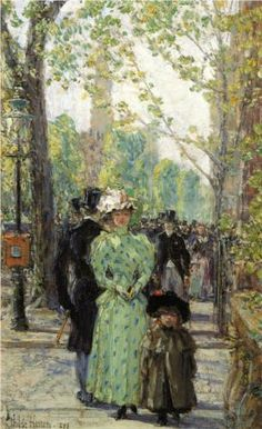 """""""Sunday Morning"""" by Frederick Childe Hassam (1859-1935), American Impressionistic painter."""