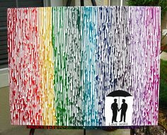 Gay Pride Art, Love Wins, Gay Wedding Gift, 22x28 Rainbow Art, Rain Painting, Silhouette Wax Painting, LGBT Pride, Gifts For Gay Couples by FemByDesign on Etsy
