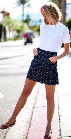 Emerson Made Navy Polka Dot Scalloped Skirt