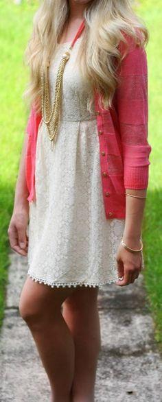 Lace mini dress and pink cardigan