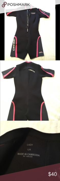 NWOT Cressida Playa 2.5mm Ladies Wetsuit All-in-one with short sleeves and shorts. Great for snorkeling, swimming, all kinds of water sports. New without tags. Cressi Swim