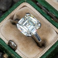 Vintage Engagement Rings   Antique Diamond Rings   EraGem Estate Engagement Ring, Emerald Cut Diamond Engagement Ring, Emerald Cut Diamonds, Antique Engagement Rings, Diamond Cuts, Antique Diamond Rings, Gemstones, 3 Carat, Cocktail Rings